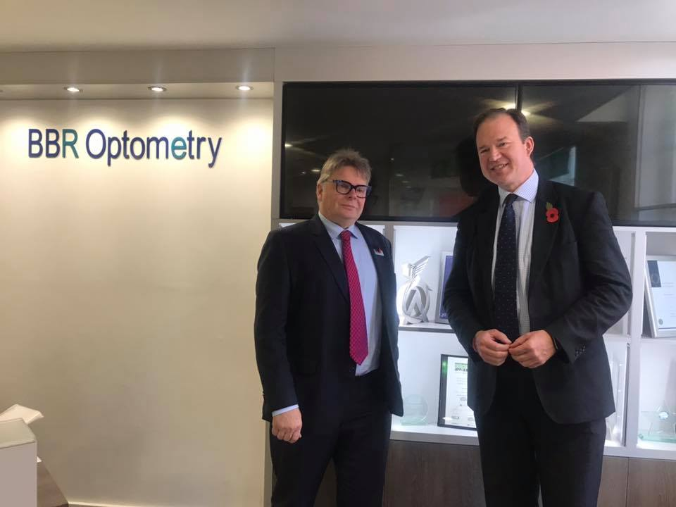 The importance of good eyesight for drivers'  highlighted to Roads Minister by BBR Optometry's chairman